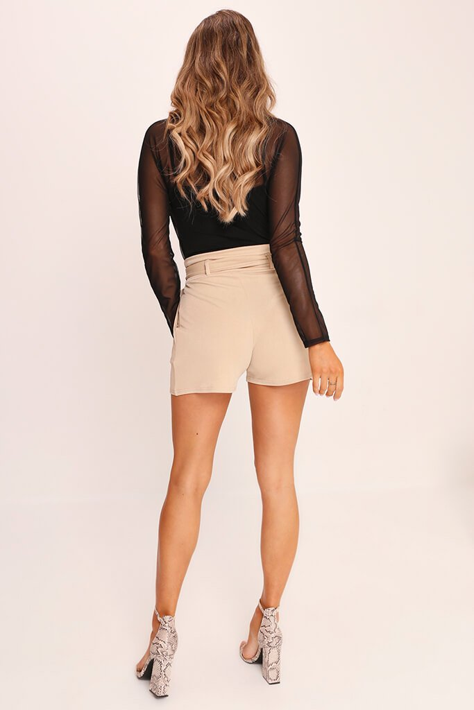 Beige High Waist D Ring Shorts view 5