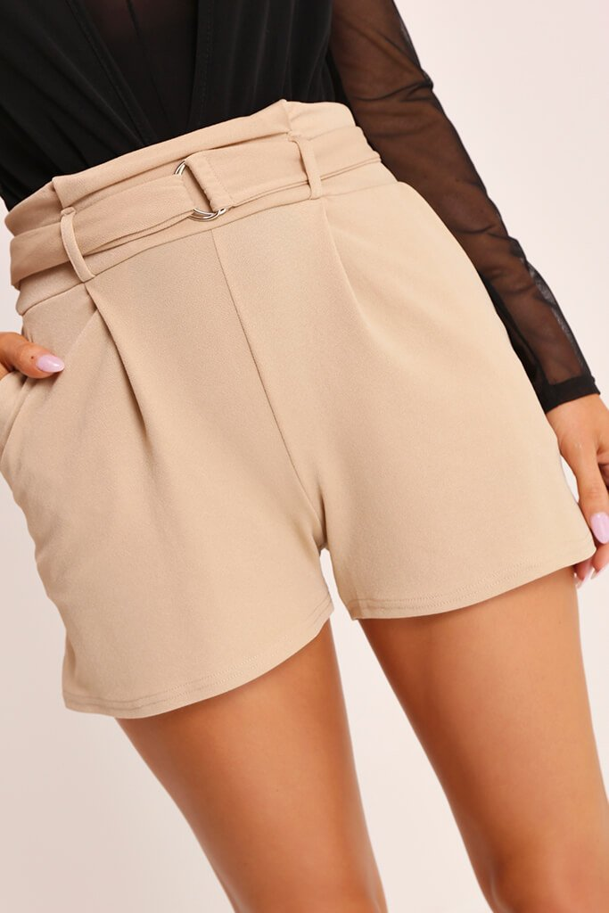Beige High Waist D Ring Shorts view 4