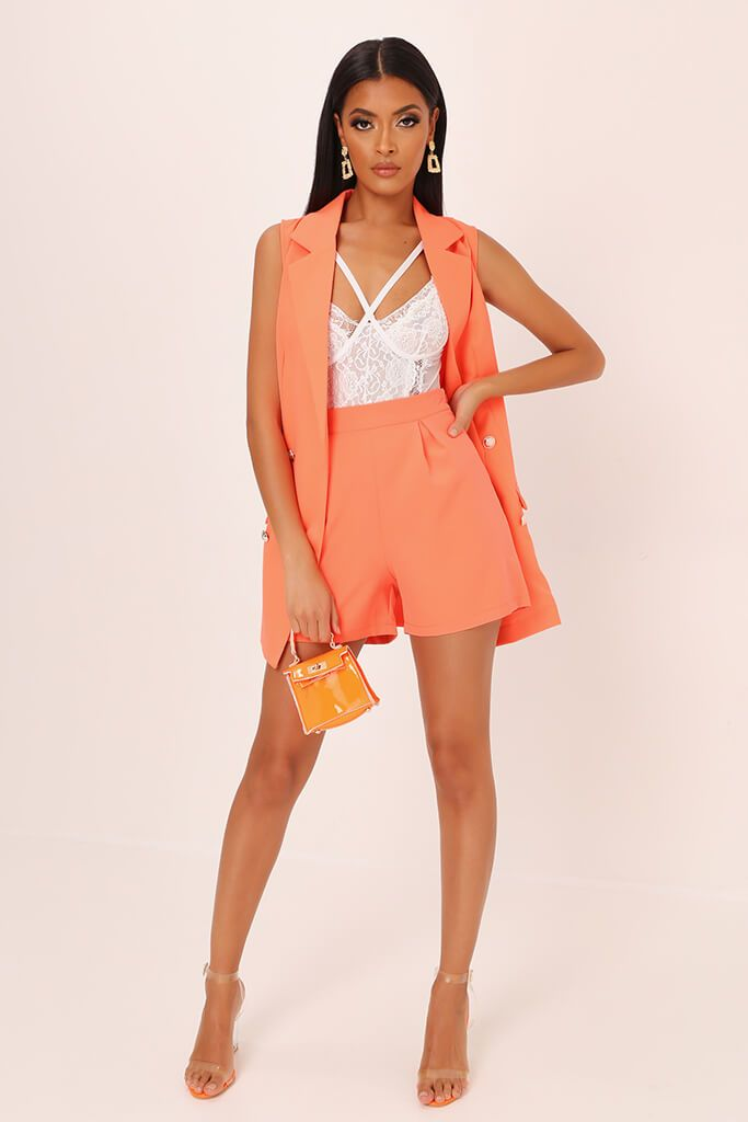 Coral High Waisted Inverted Pleat Shorts view 2