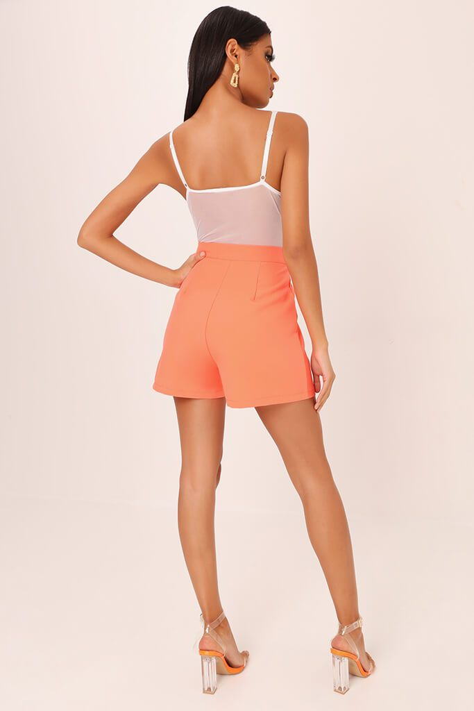 Coral High Waisted Inverted Pleat Shorts view 5