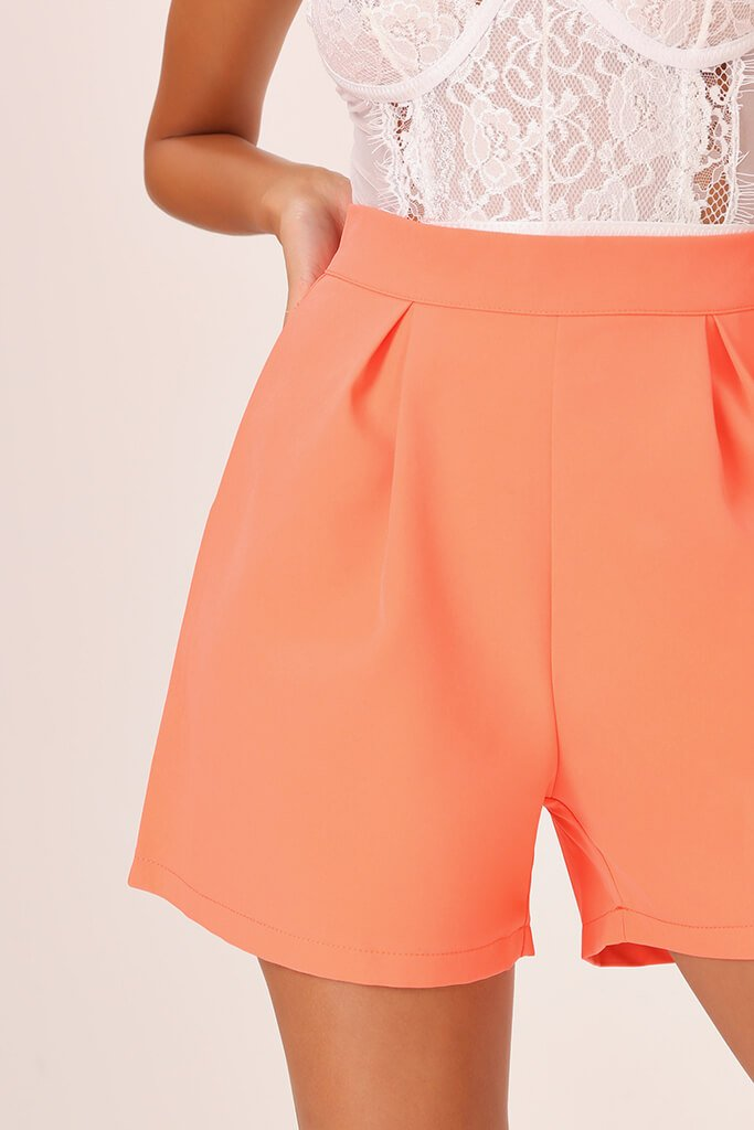 Coral High Waisted Inverted Pleat Shorts view 4