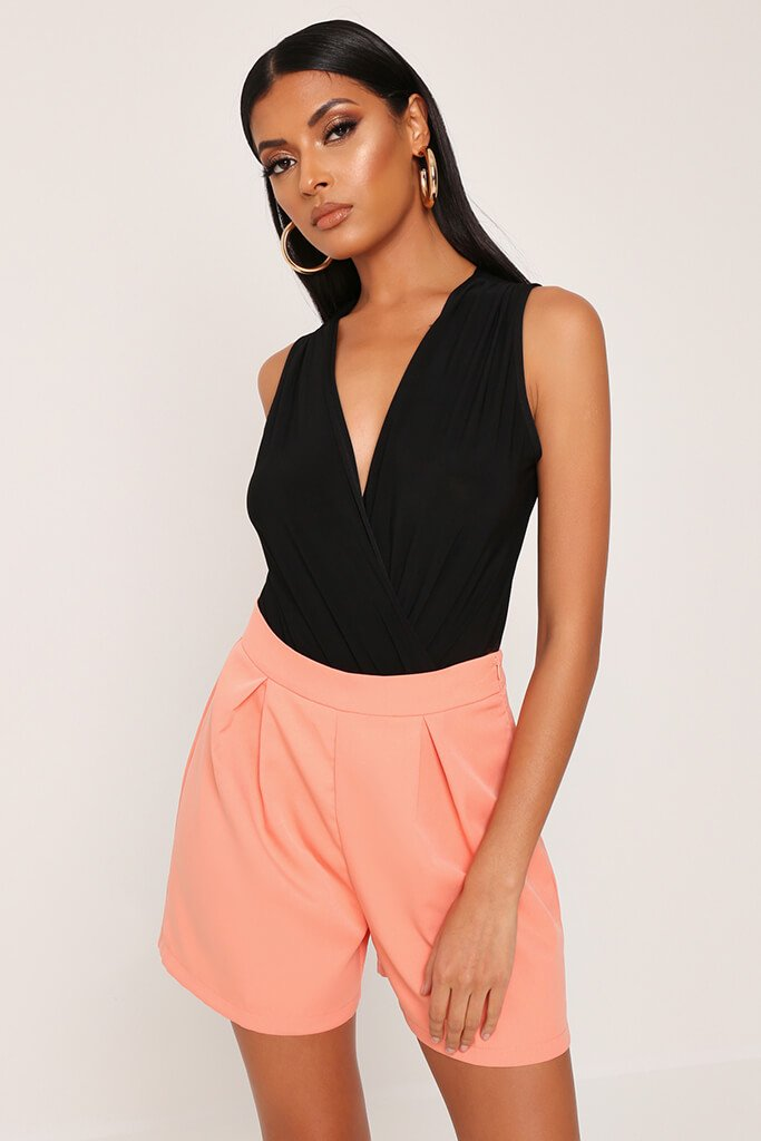 Coral High Waist Inverted Pleat Shorts