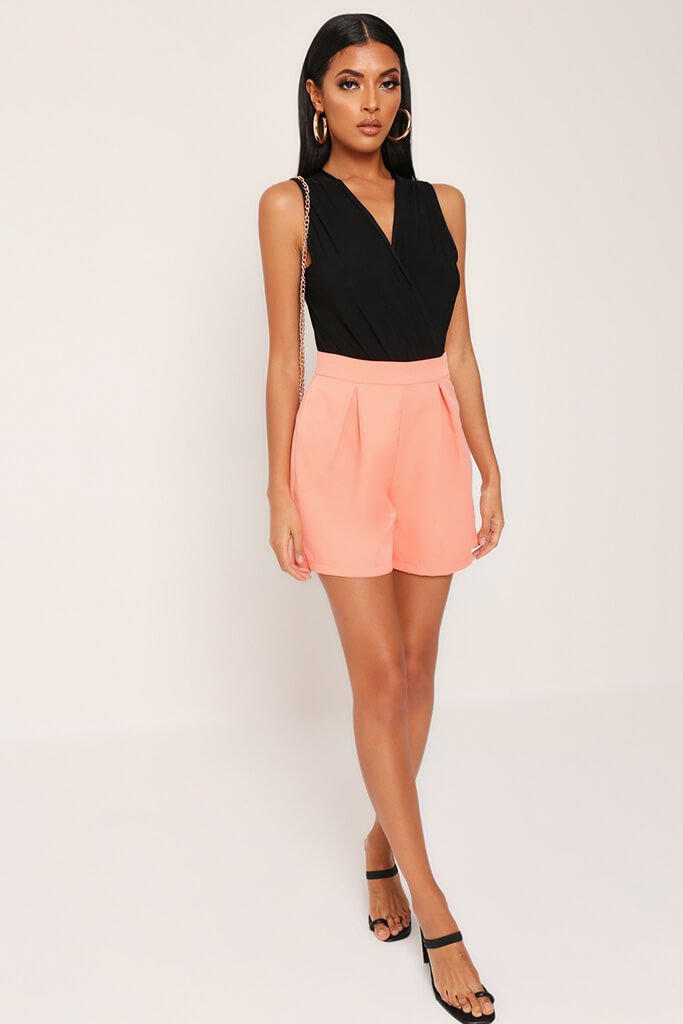 Coral High Waist Inverted Pleat Shorts view 2
