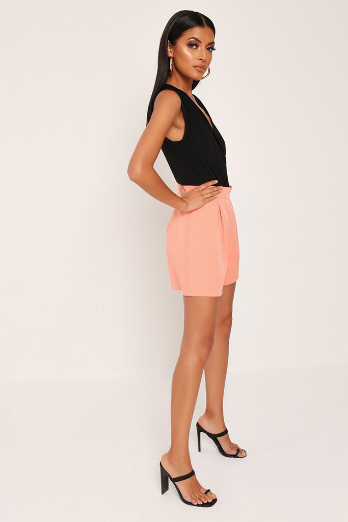 Coral High Waist Inverted Pleat Shorts view 3