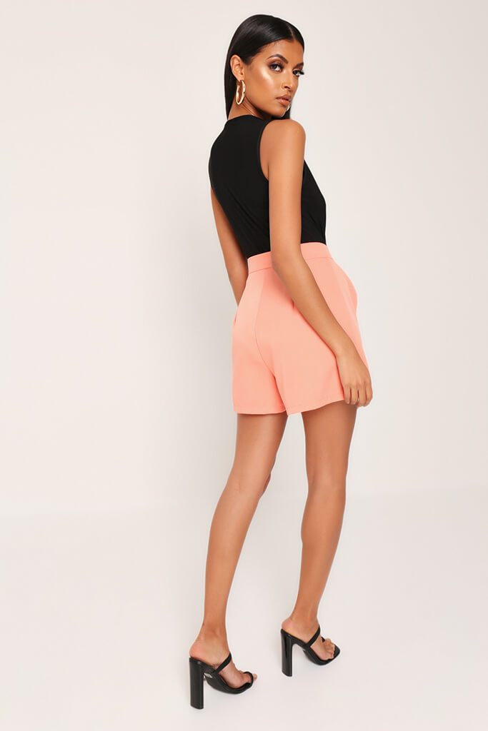 Coral High Waist Inverted Pleat Shorts view 5