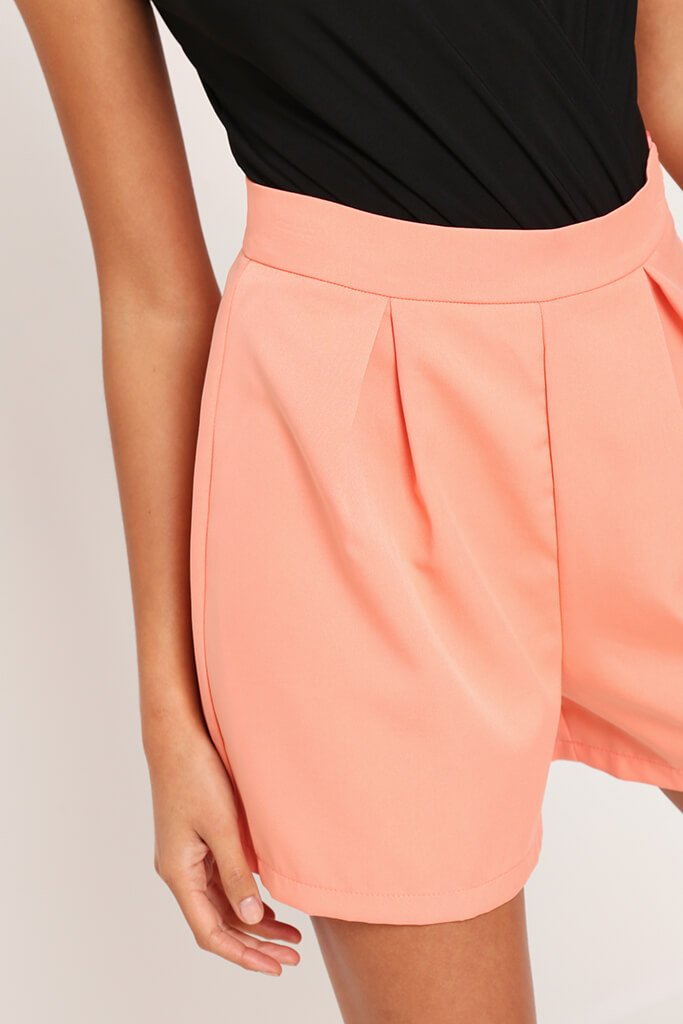 Coral High Waist Inverted Pleat Shorts view 4