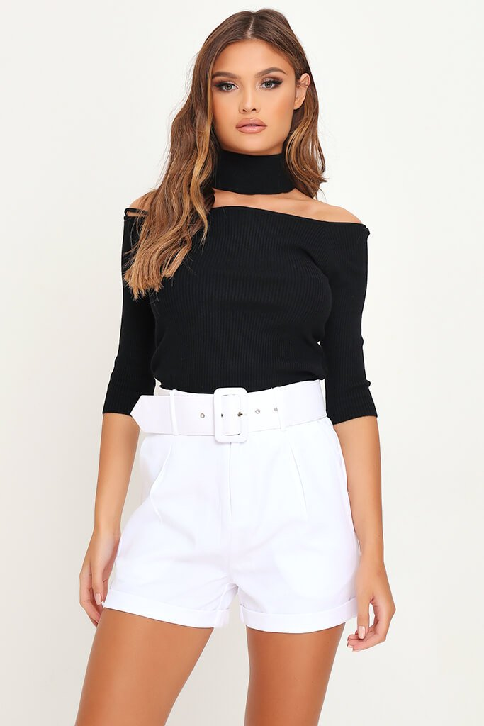 White Belted High Waist Shorts