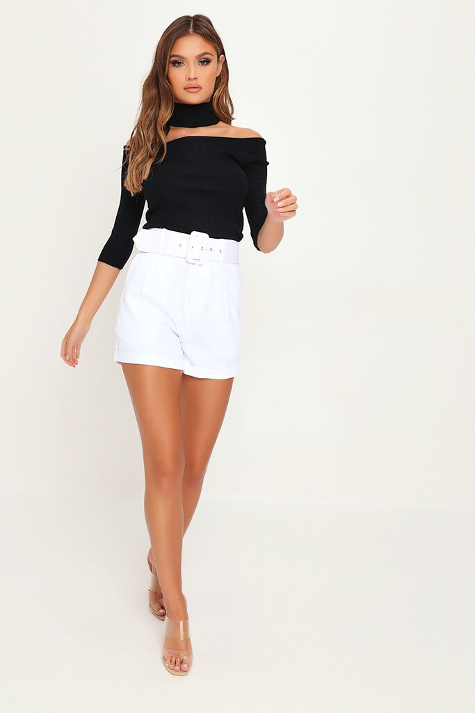 White Belted High Waist Shorts view 2