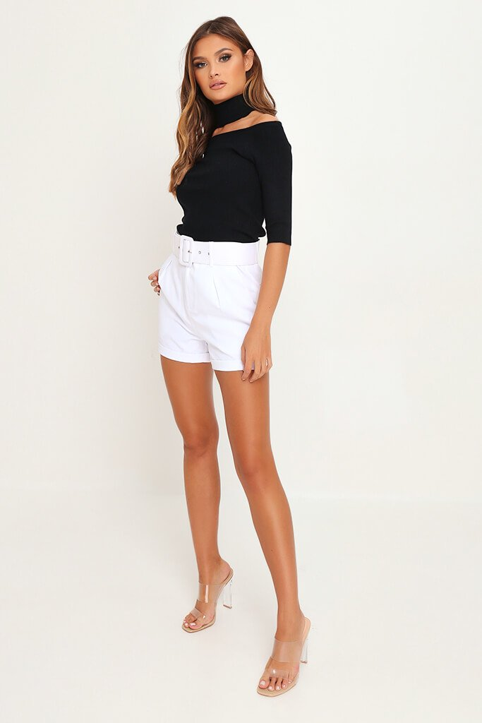 White Belted High Waist Shorts view 3