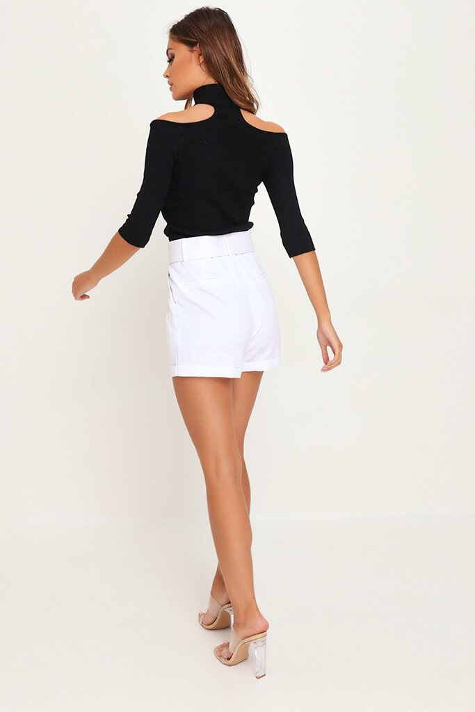 White Belted High Waist Shorts view 5
