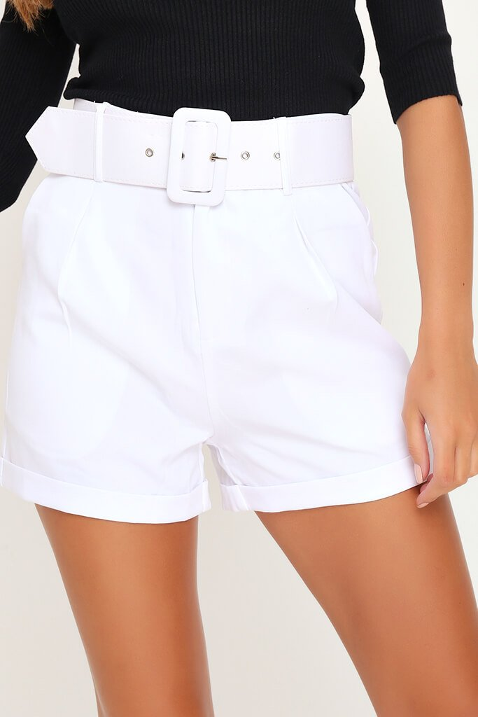 White Belted High Waist Shorts view 4