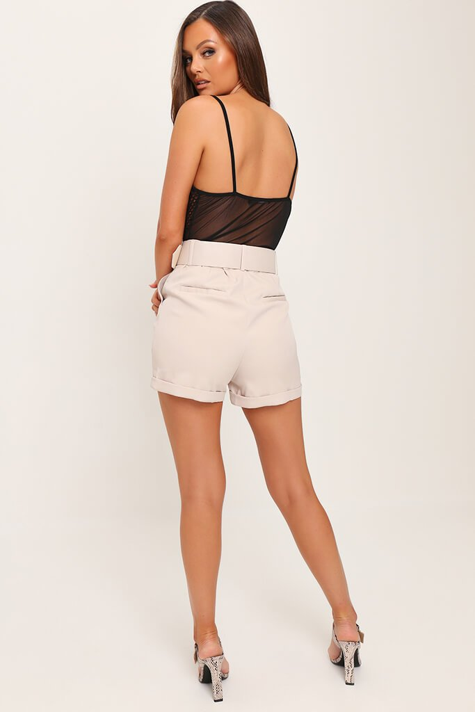 Beige Belted High Waist Shorts view 5