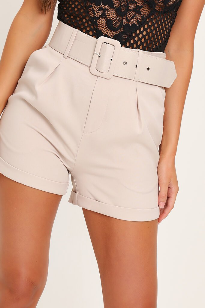 Beige Belted High Waist Shorts view 4