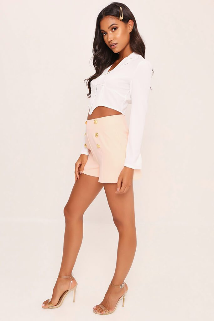 Peach Button Front Shorts view 3