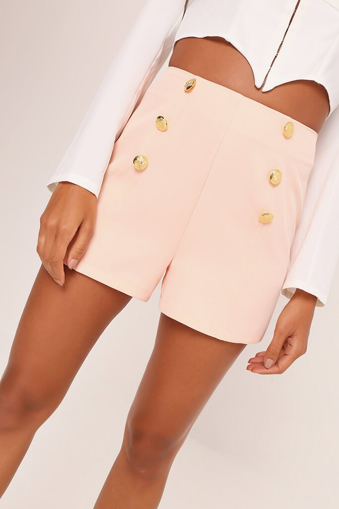 Peach Button Front Shorts view 4