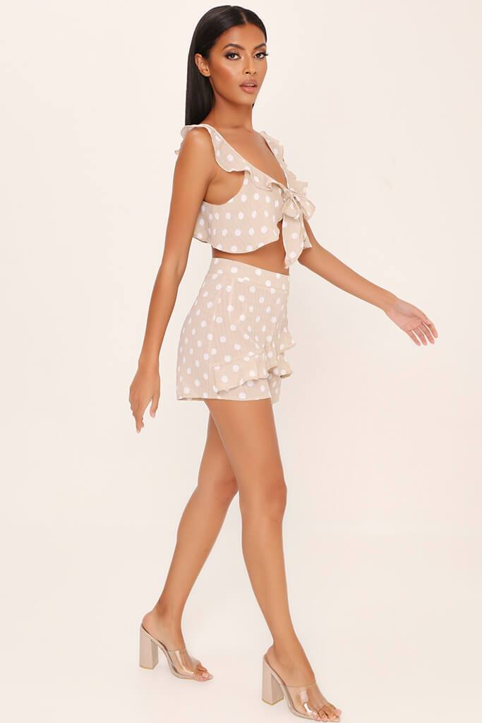 Beige Frill Front Shorts view 3