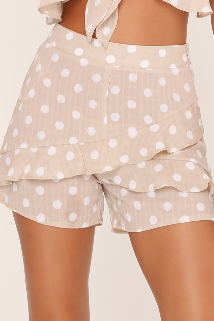 Beige Frill Front Shorts view 4