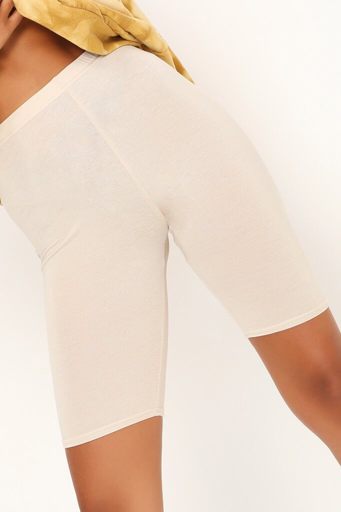 Stone Cotton Elastane Cycling Shorts view 3