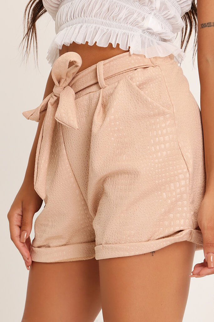 Stone Croc Embossed Tie Front Short view 4