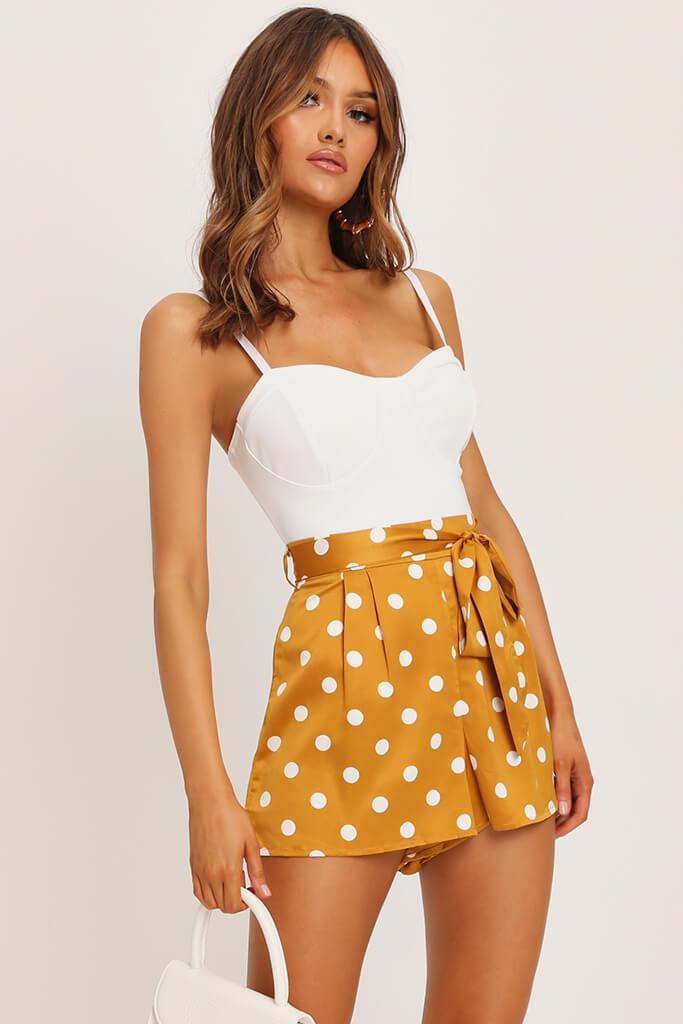 Orange Polka Dot Print Paperbag Satin Shorts