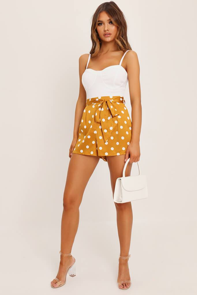 Orange Polka Dot Print Paperbag Satin Shorts view 2