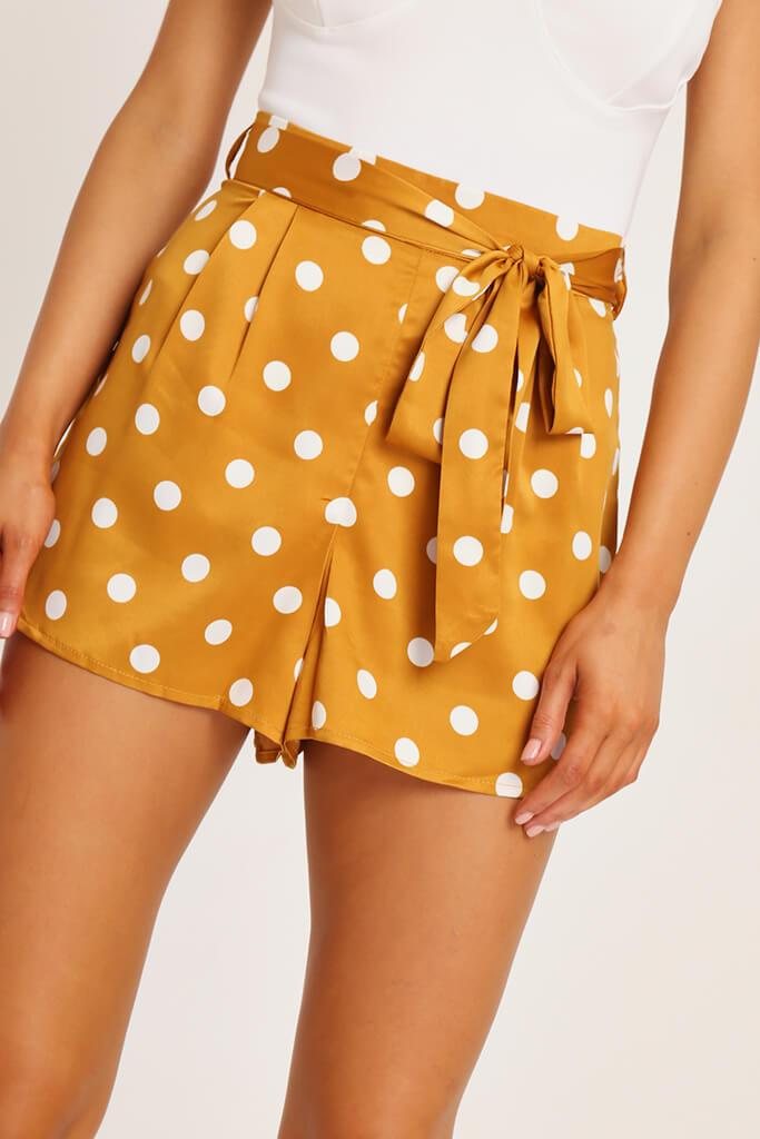 Orange Polka Dot Print Paperbag Satin Shorts view 4
