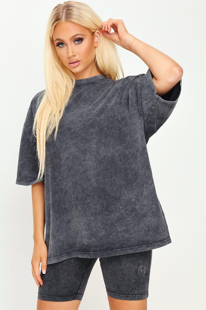 Grey Acid Wash Cotton Extreme Oversized T-Shirt view main view