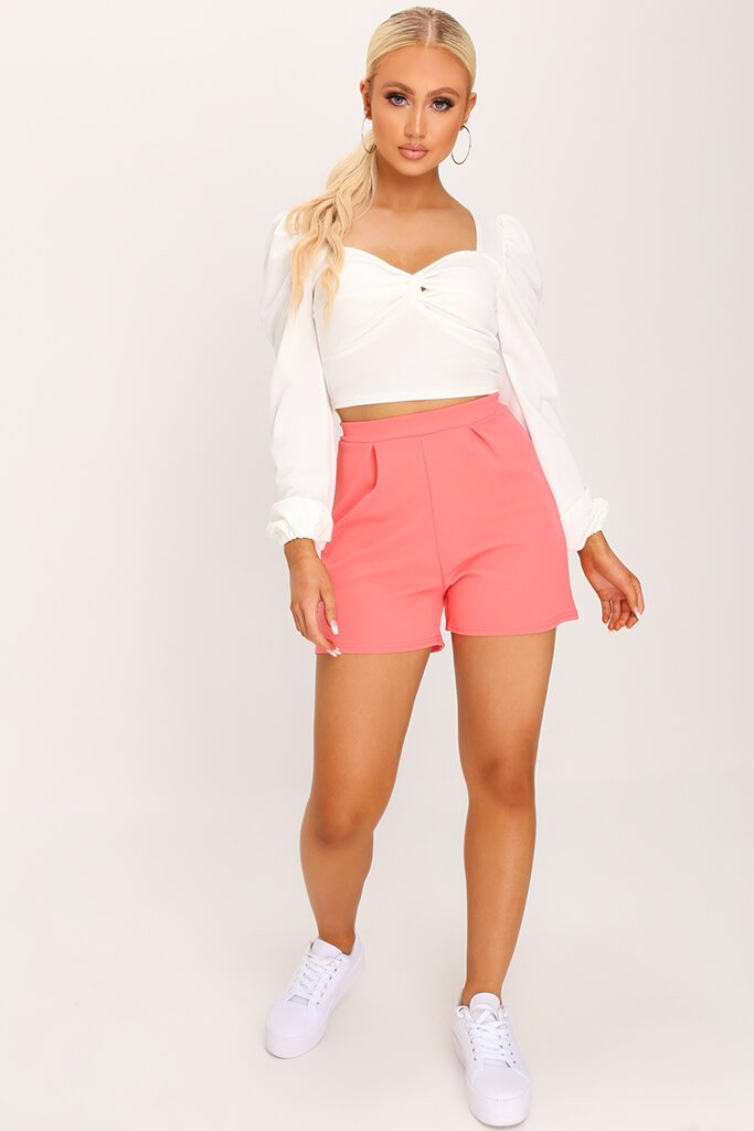 Coral Scuba Crepe High Waisted Pleat Short view 2