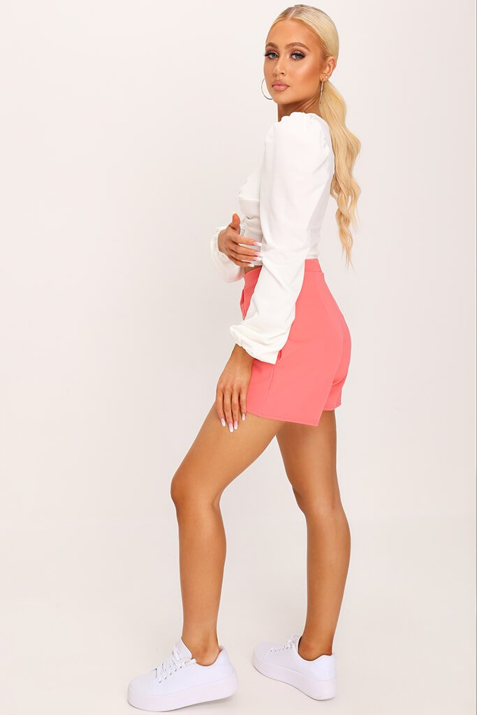 Coral Scuba Crepe High Waisted Pleat Short view 3