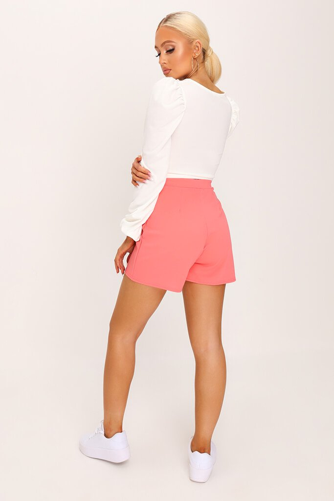 Coral Scuba Crepe High Waisted Pleat Short view 5