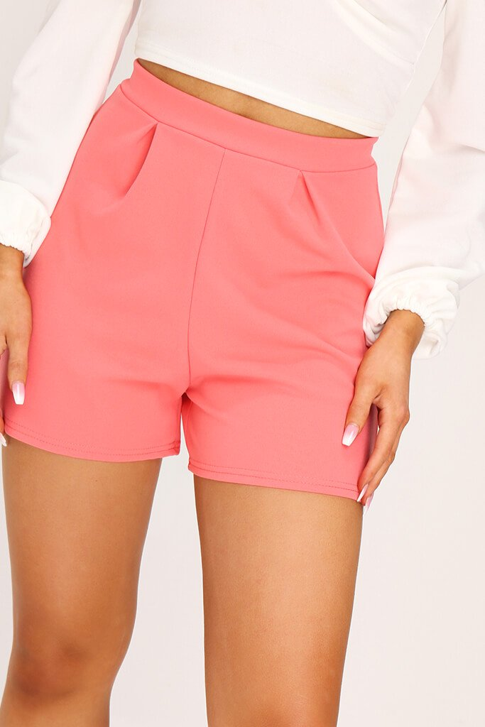 Coral Scuba Crepe High Waisted Pleat Short view 4