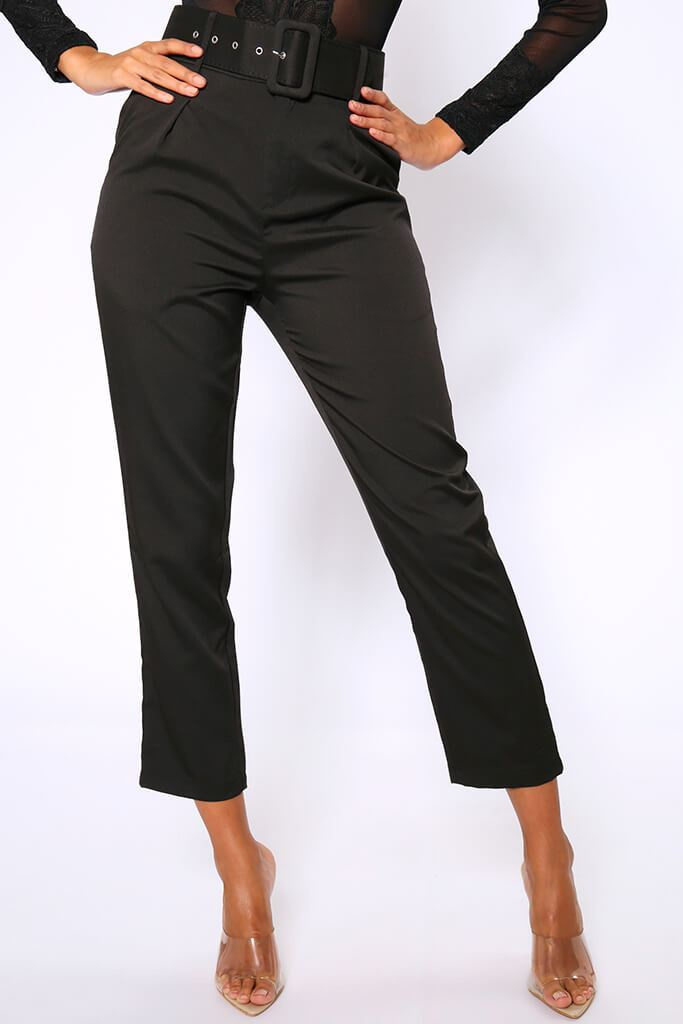 Black Belted Cigarette Trousers view 2