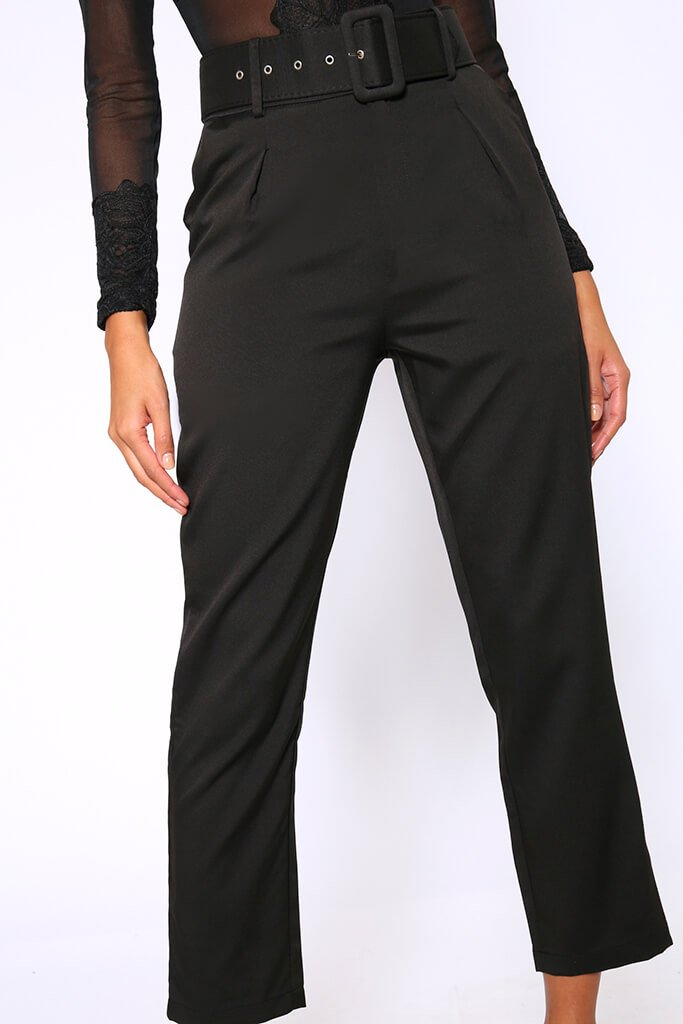 Black Belted Cigarette Trousers view 4