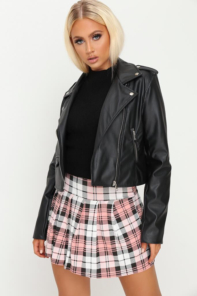 Pink Tartan Check Pleated Skirt