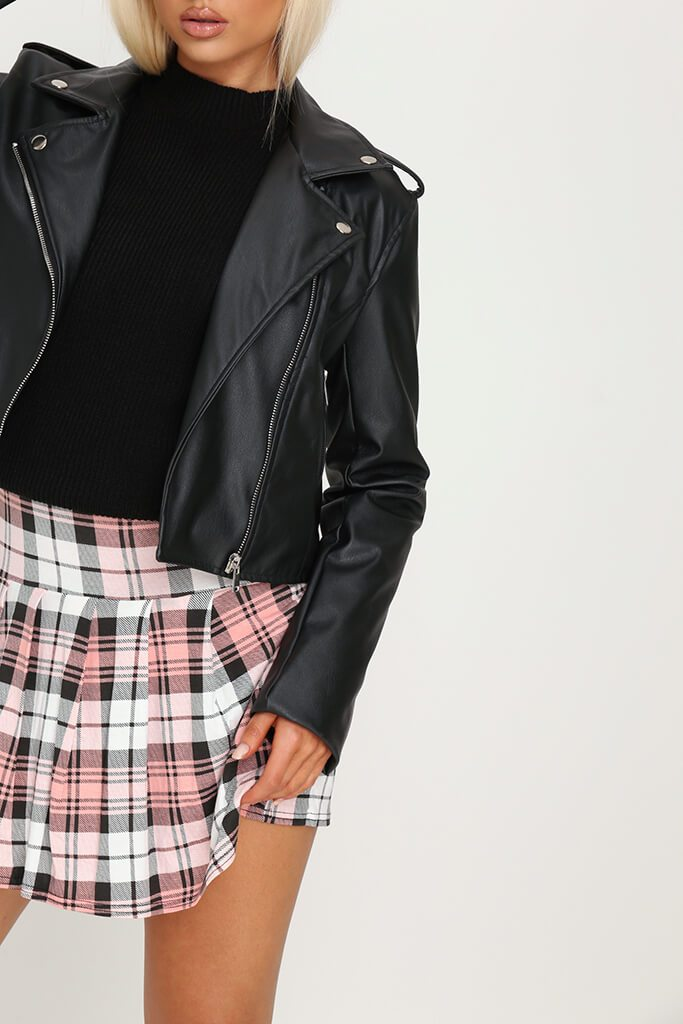 Pink Tartan Check Pleated Skirt view 4