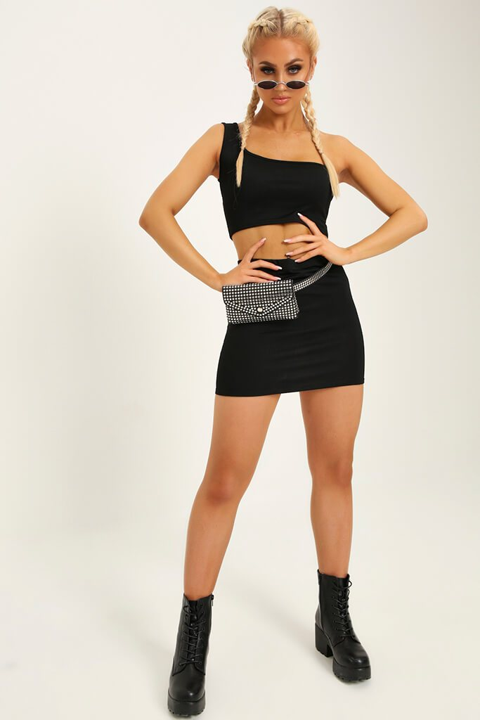 Black Stretch Crepe Mini Skirt view 2