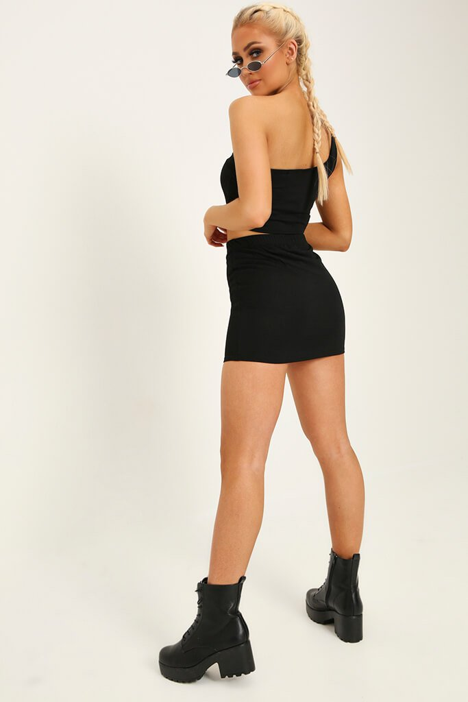 Black Stretch Crepe Mini Skirt view 5