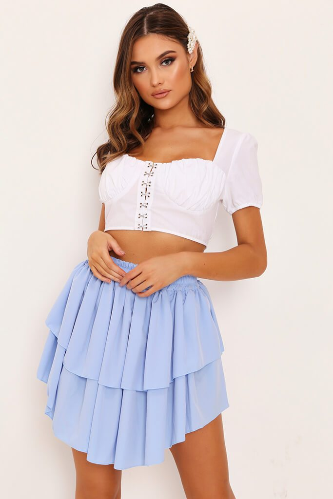 Light Blue Double Frill Mini Skirt view main view