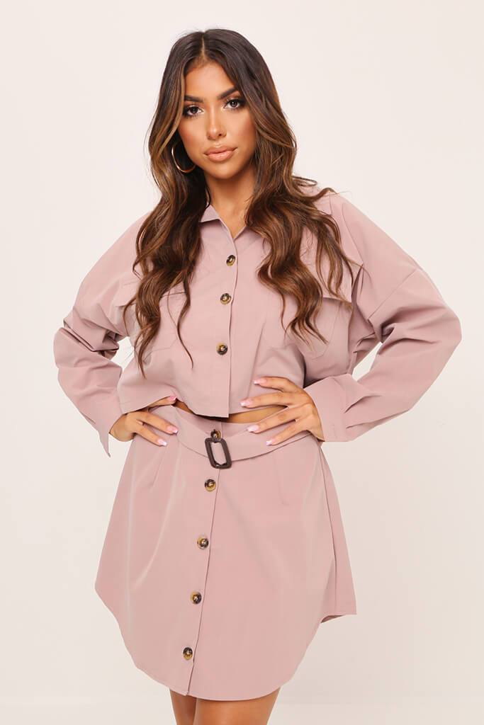 Pink Belted Button Front Skirt