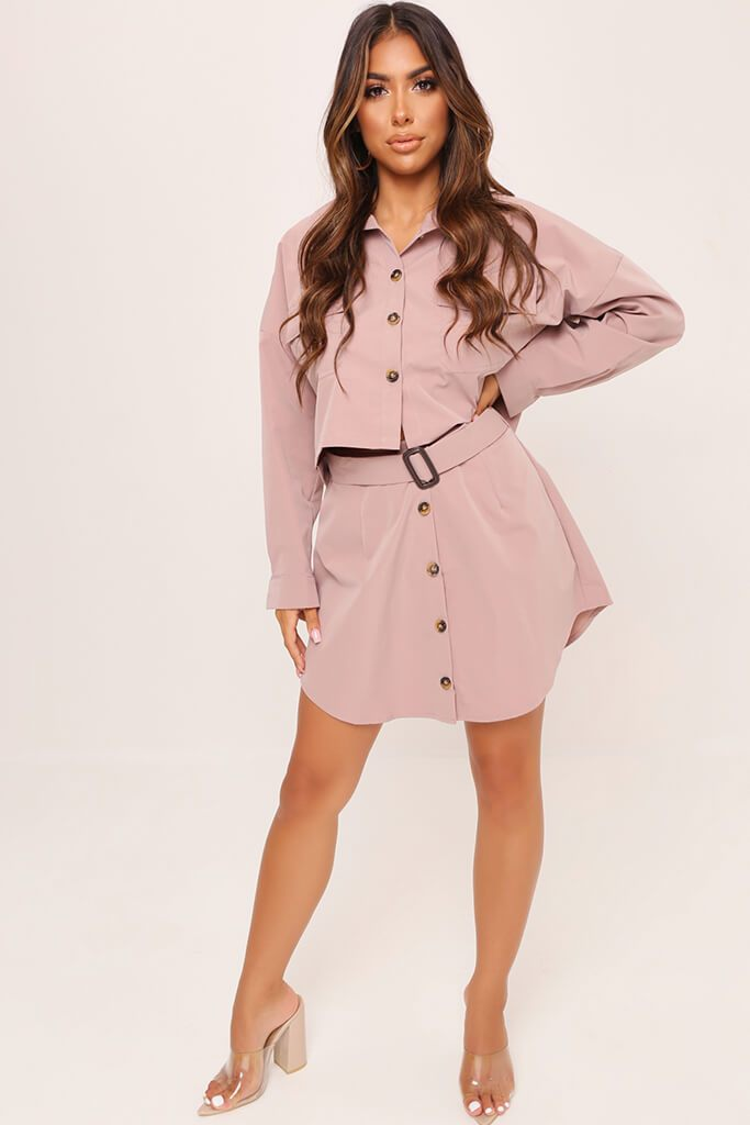Pink Belted Button Front Skirt view 2