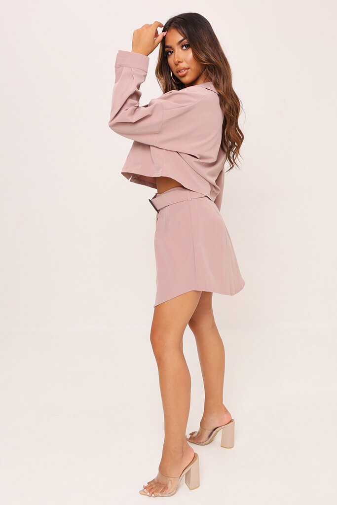 Pink Belted Button Front Skirt view 3