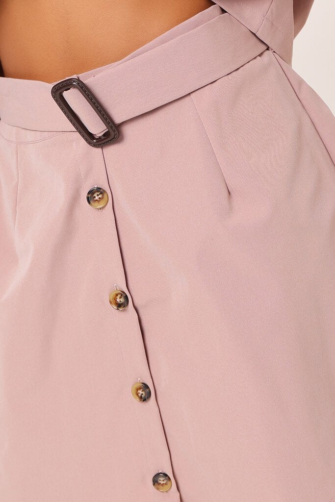 Pink Belted Button Front Skirt view 4