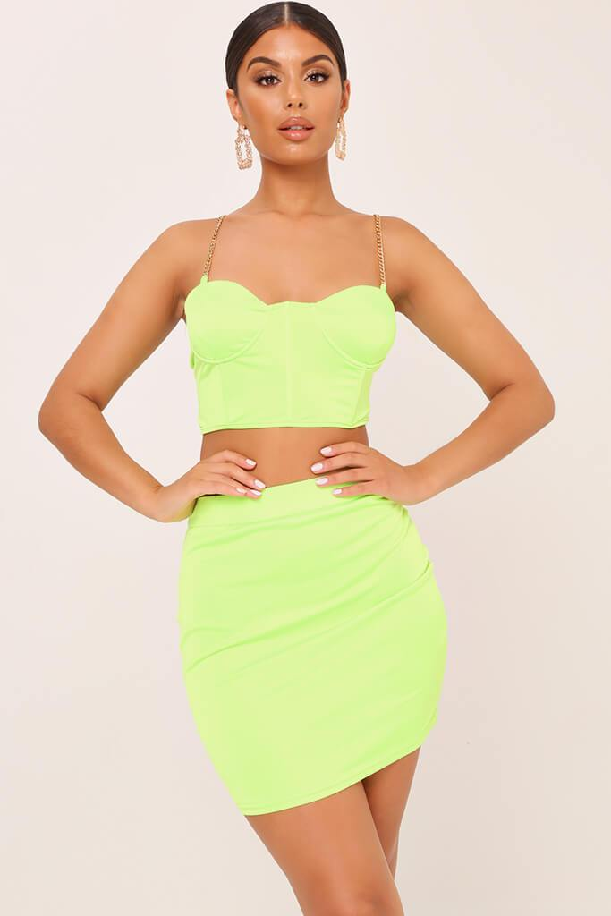 Neon Lime Satin Mini Skirt