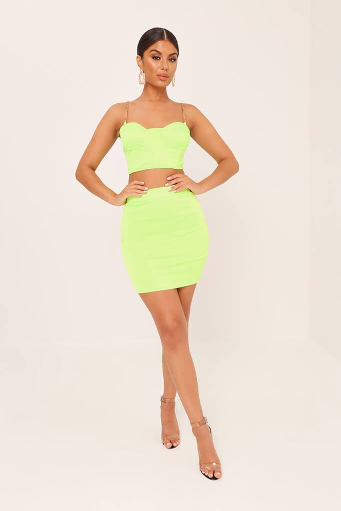 Neon Lime Satin Mini Skirt view 2