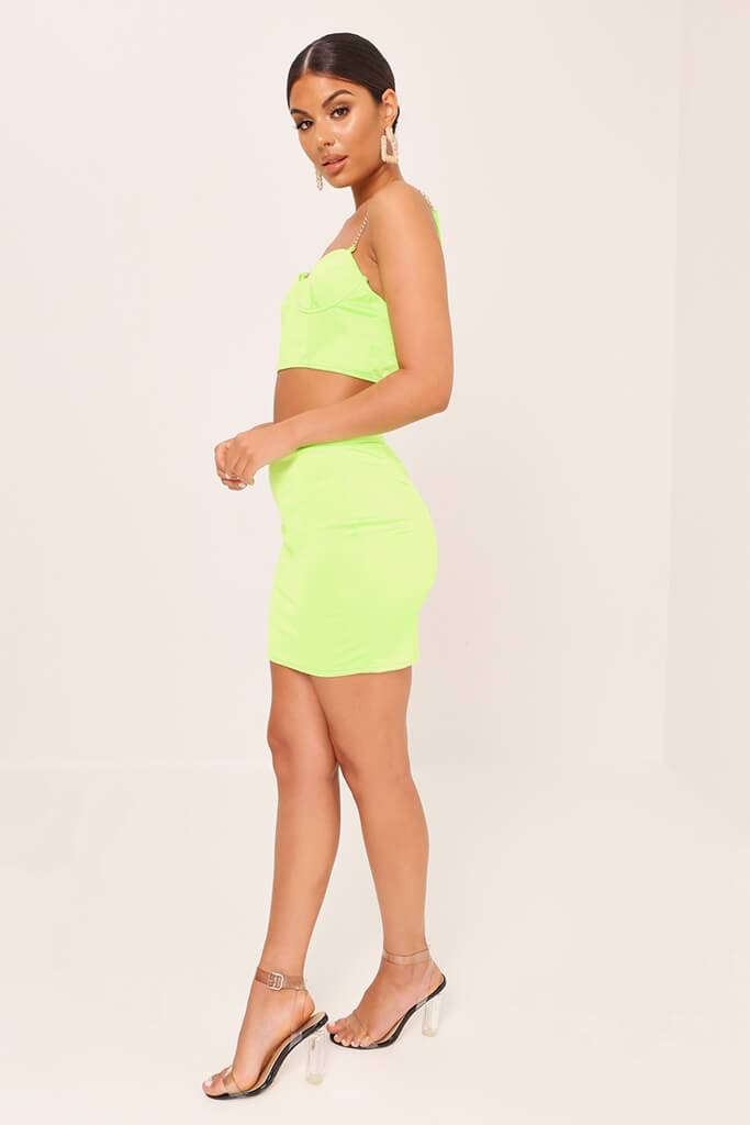 Neon Lime Satin Mini Skirt view 3