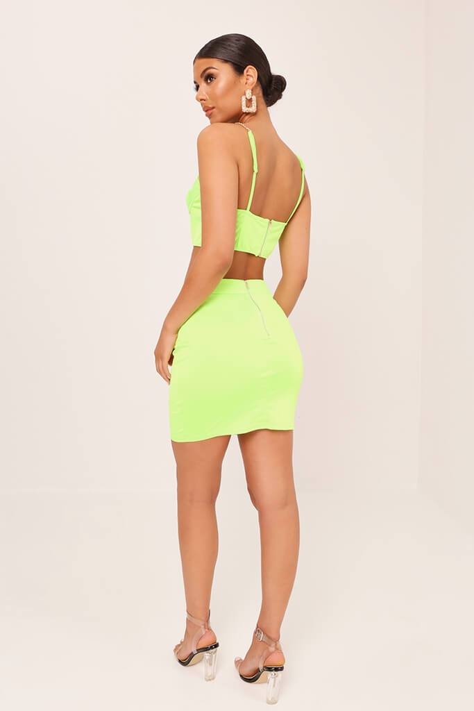 Neon Lime Satin Mini Skirt view 5
