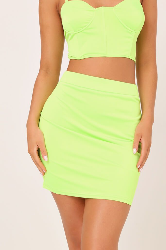 Neon Lime Satin Mini Skirt view 4
