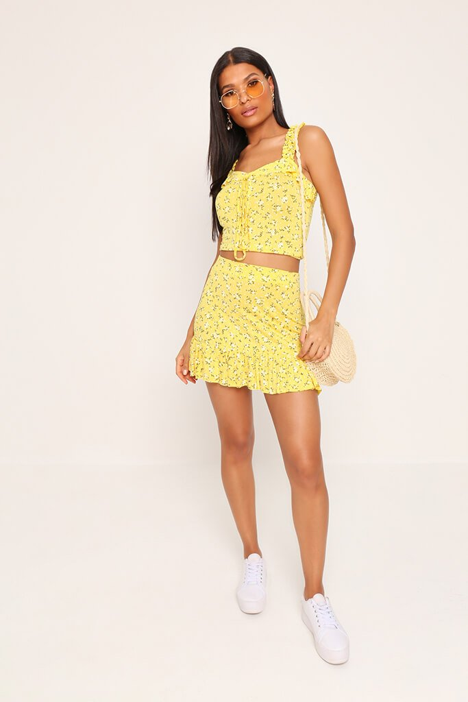 Yellow Floral Print Skirt view 2