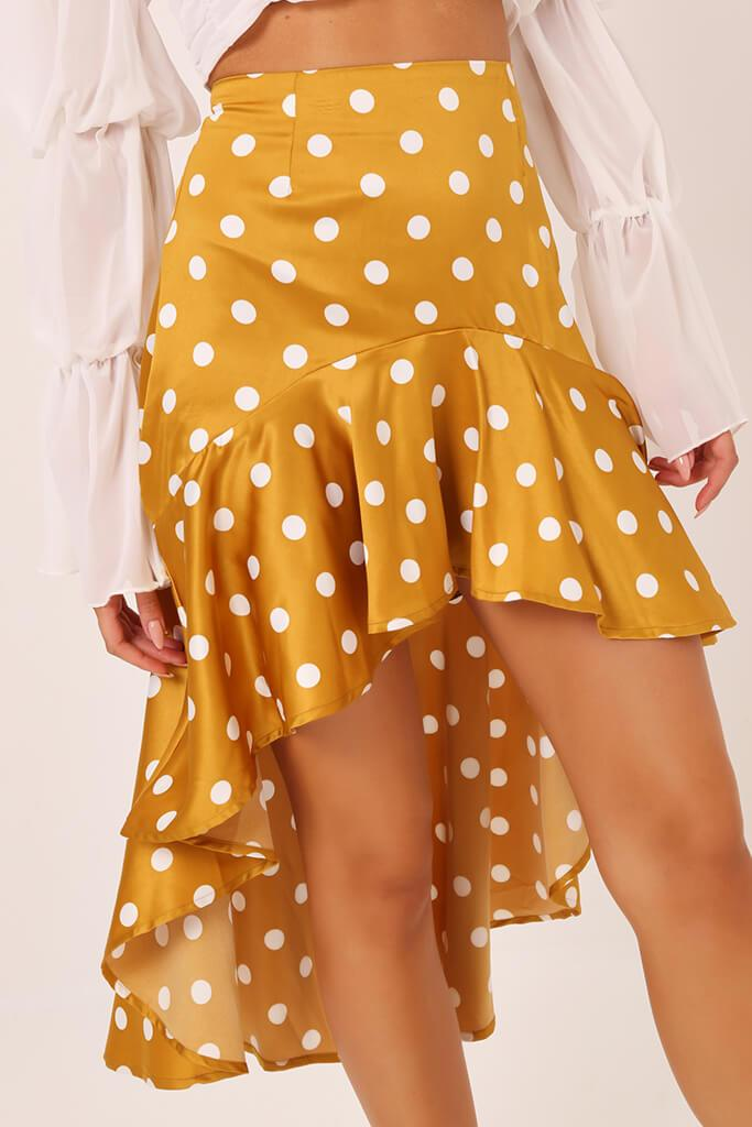 Rust High Low Hem Polka Dot Print Skirt view 4