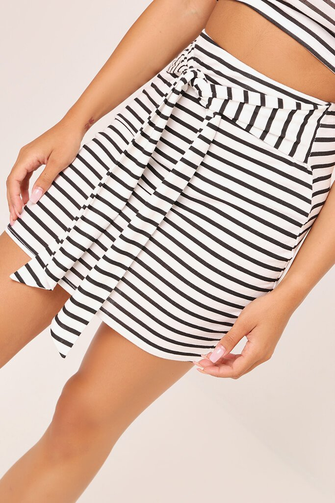 Black/White Jersey Stripe Tie Front Mini Skirt view 4